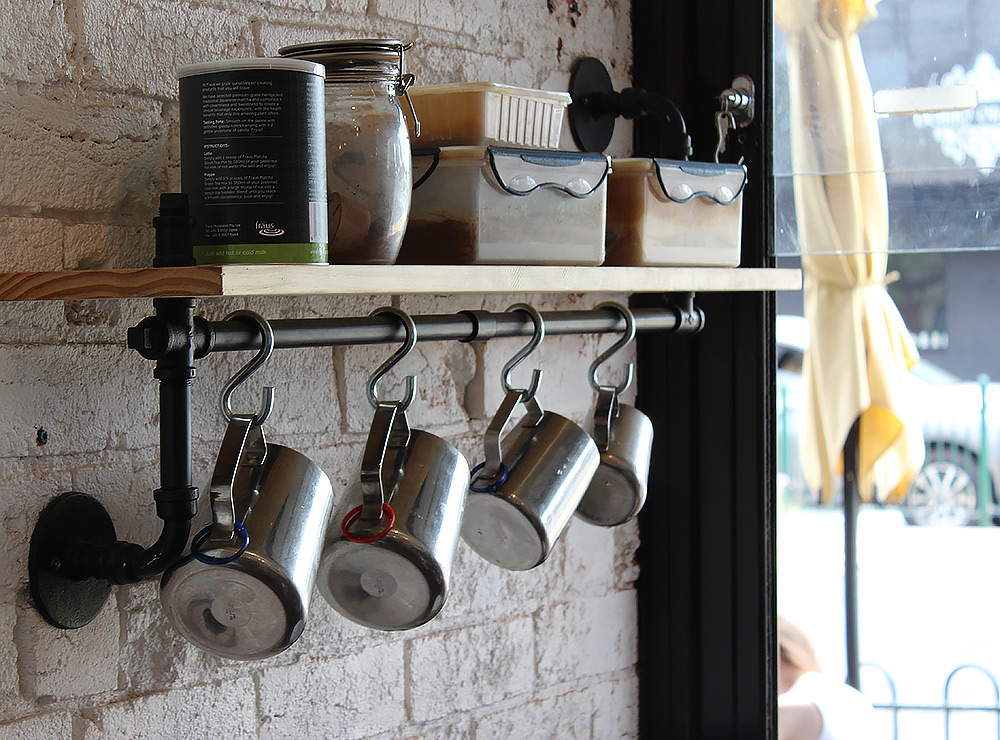 Cafe shelf and rail