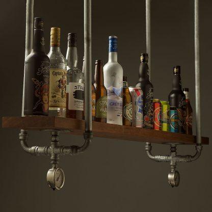 Industrial Plumbing Pipe Overhead Bar Shelf galvanised