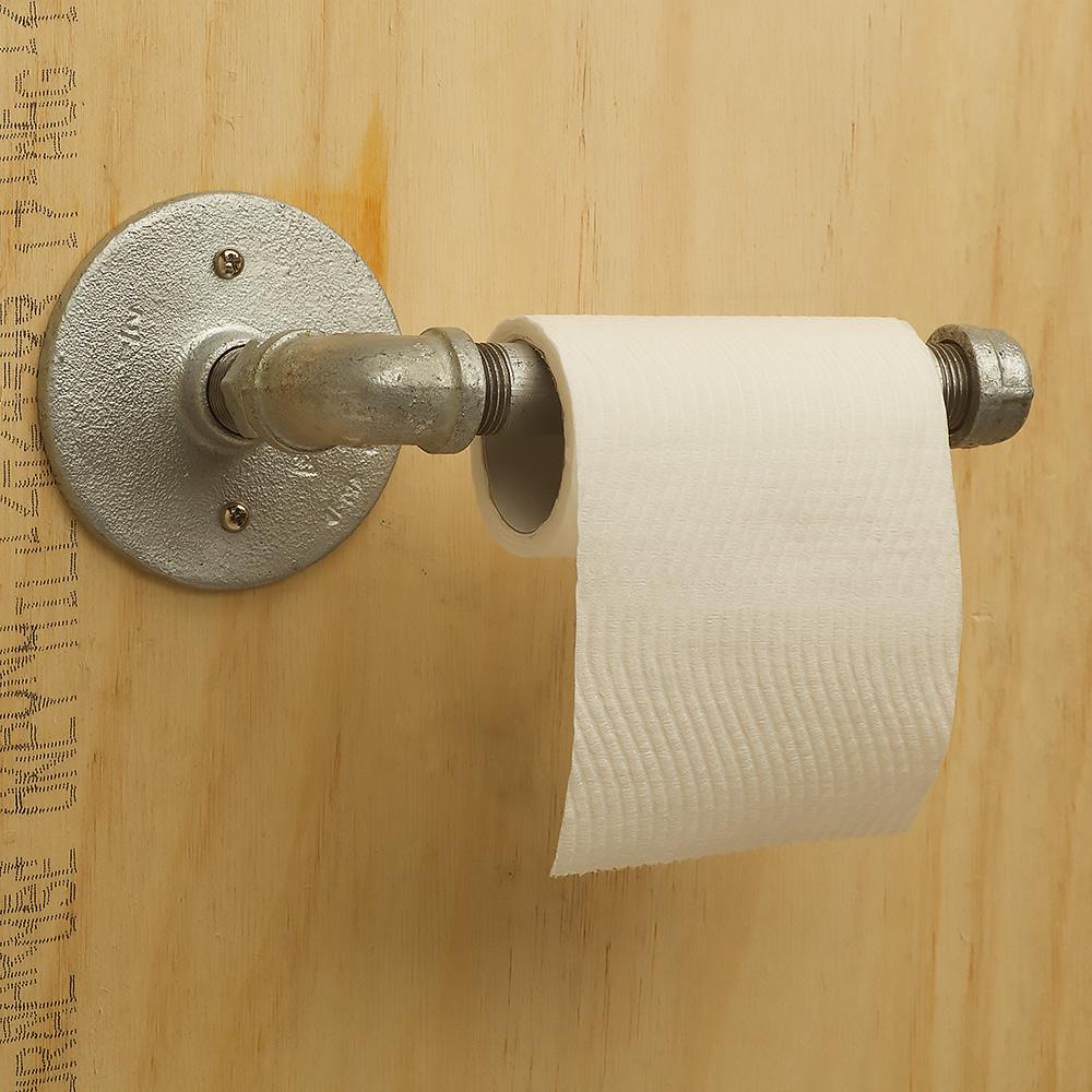 Industrial plumbing pipe toilet roll holder