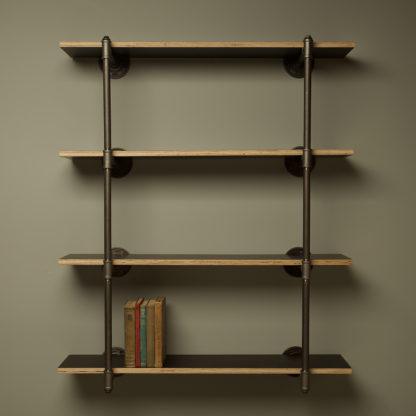 Industrial plumbing pipe four level wall shelf kit black steel