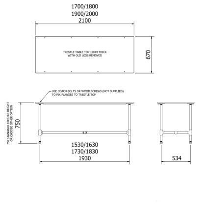 Plumbing Pipe Trestle Table Legs DIY Kit dimensions
