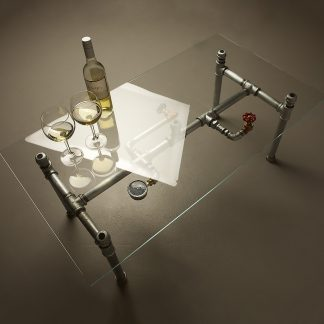 Glass coffee table with wine glasses