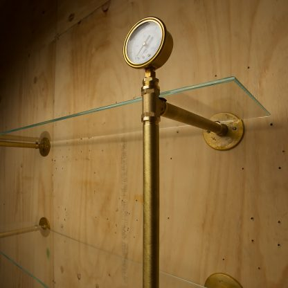 Industrial Solid Brass plumbing pipe multi level wall shelf gauge