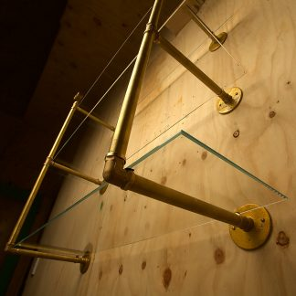 Industrial Solid Brass plumbing pipe multi level wall shelf underside