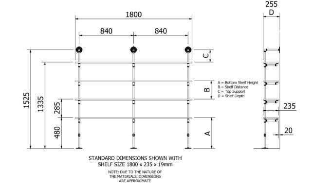 Floor Shelf Kit 4 shelf dimensions