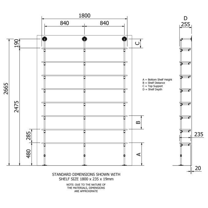 Industrial plumbing pipe eight level floor shelf kit dimensions