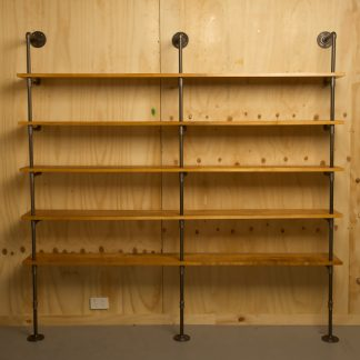 Industrial plumbing pipe five level floor shelf