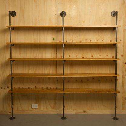 Industrial plumbing pipe five level floor shelf