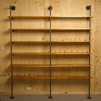 Industrial plumbing pipe six level floor shelf