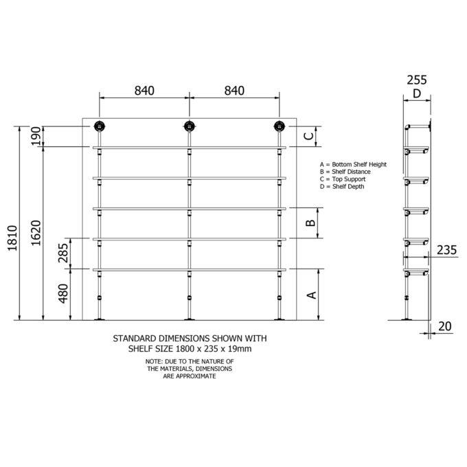 Plumbing pipe five level floor shelf kit dimensions