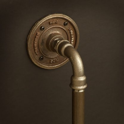 Half inch Black steel pipe fitting door handle with bend detail