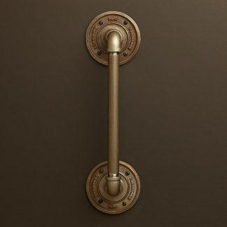 Half inch Black steel pipe fitting door handle with short elbow