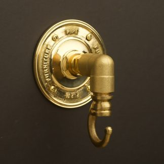 Solid brass elbow pipe fitting coat hook