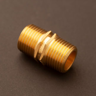 Half inch hex nipple brass
