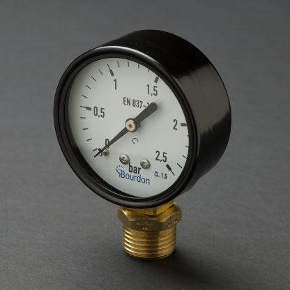 Half inch black steel case 15mm pressure gauge