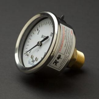 Half inch stainless steel case rear mount 15mm pressure gauge