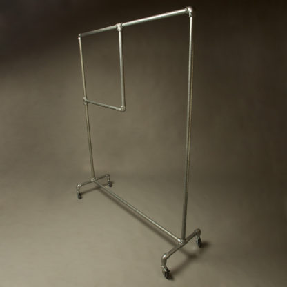 Industrial Galvanised Pipe Clothing Rack with segment
