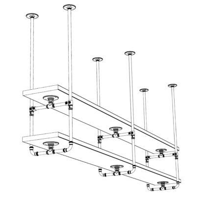 Industrial Plumbing Pipe Overhead Bar Twin Shelf Brackets 3 uprights