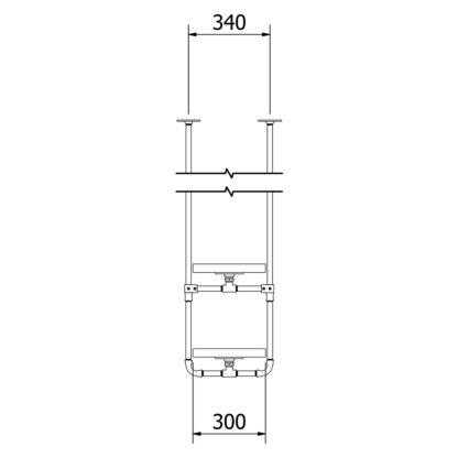 Industrial Plumbing Pipe Overhead Bar Twin Shelf Brackets